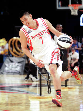 Jeremy Lin of the Houston Rockets competes in the NBA All-Star Skills Challenge. Photo: Melissa Phillip, Houston Chronicle / © 2013  Houston Chronicle