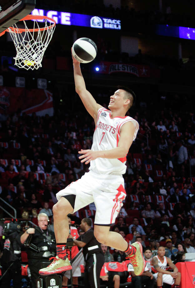 Jeremy Lin of the Houston Rockets goes for  a layup as he competes in the NBA All-Star Skills Challenge. Photo: Melissa Phillip, Houston Chronicle / © 2013  Houston Chronicle