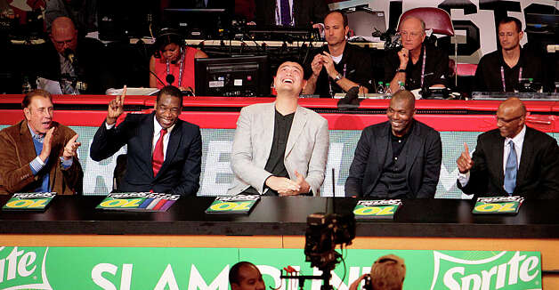 Houston Rockets legends Rudy Tomjanovich, Dikembe Mutombo, Yao Ming, Hakeem Olajuwon, and Clyde Drexler are introduced as judges of the NBA All-Star Slam Dunk Contest. Photo: Billy Smith II, Houston Chronicle / © 2013 Houston Chronicle