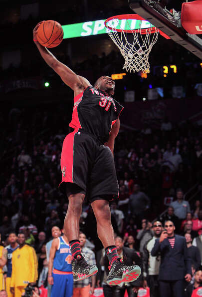 Terrence Ross of the Toronto Raptors competes in the NBA All-Star Slam Dunk Contest.