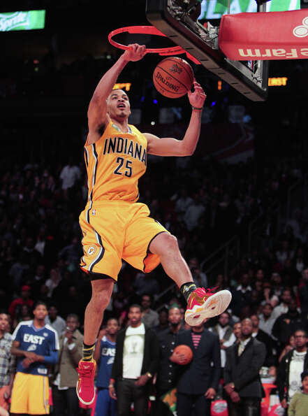 Gerald Green of the Indiana Pacers  competes in the NBA All-Star Slam Dunk Contest.