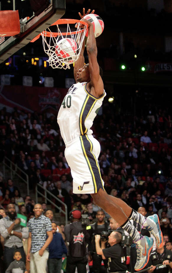 Jeremy Evans of the Utah Jazz  competes in the NBA All-Star Slam Dunk Contest. Photo: Melissa Phillip, Houston Chronicle / © 2013  Houston Chronicle