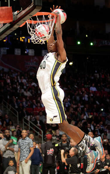 Jeremy Evans of the Utah Jazz  competes in the NBA All-Star Slam Dunk Contest.