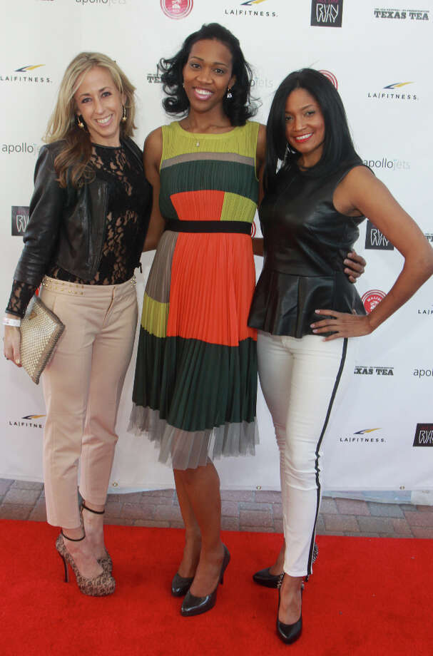Sarah Haynes, from left, Yolanda Wilkerson and Monique Hobbs at the celebrity fashion show at the House of Dereon Media Center, hosted by Adrian Peterson. The event benefits Peterson's All Day Foundation. Photo: Gary Fountain, For The Chronicle / Copyright 2013 Gary Fountain.