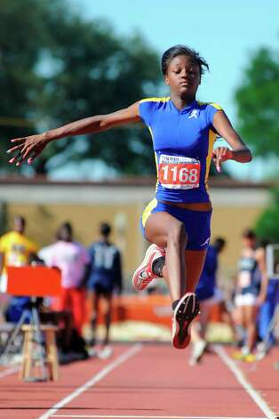 Ozen's Dominique Brannon competes in the 4A Girls triple jump at the UIL Track and Field State Championships  in Mike A. Myers Stadium at The University of Texas in Austin. Friday, May 13,  2011.  Valentino Mauricio/The Enterprise Photo: Valentino Mauricio
