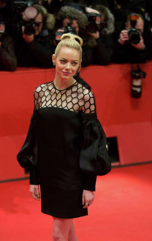 Actress Emma Stone arrives for the screening of the film The Croods at the 63rd edition of the Berlinale, International Film Festival in Berlin, Friday, Feb. 15, 2013. Photo: AP