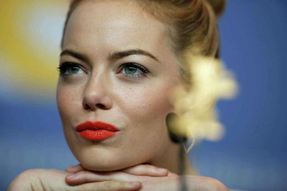 Actress Emma Stone attends the press conference for the film The Croods at the 63rd edition of the Berlinale, International Film Festival in Berlin, Germany, Friday, Feb. 15, 2013.