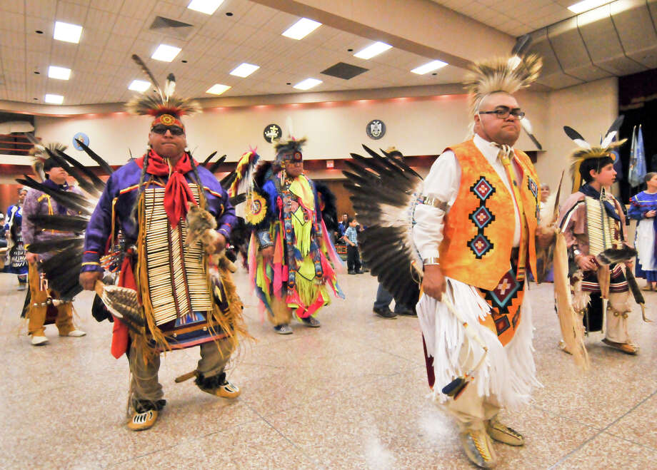 Attendee's of the 16th Annual United San Antonio Pow Wow dance during Sunday ceremonies at the Alzafar Shrine Auditorium. Native American Tribes from around the nation participated.