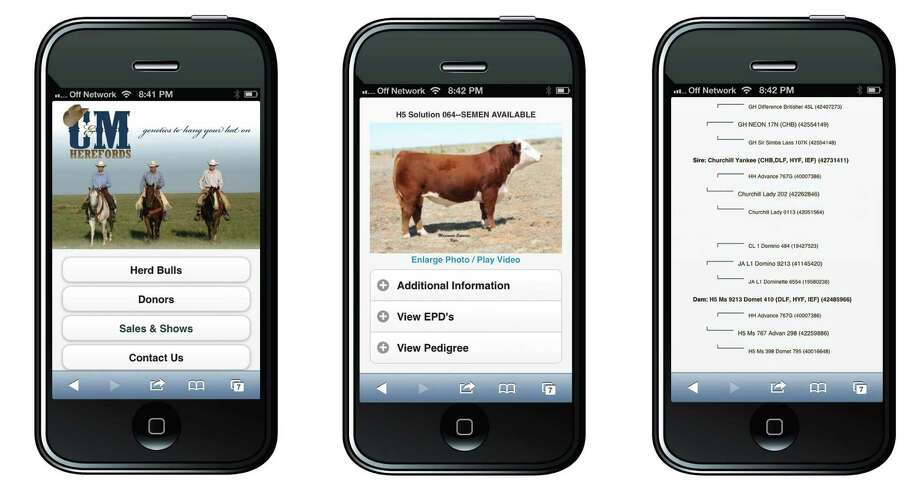 Screenshots of Virtual Herd, which helps breeders and buyers market their livestock. The Virtual Herd app shows pictures, video and data on various animals. Photo: AgTown Technologies
