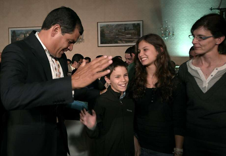 Rafael Correa celebrates his re-election with his family. The leftist president is viewed as a champion of the downtrodden but intolerant of dissent. Photo: Rodrigo Buendia, AFP/Getty Images