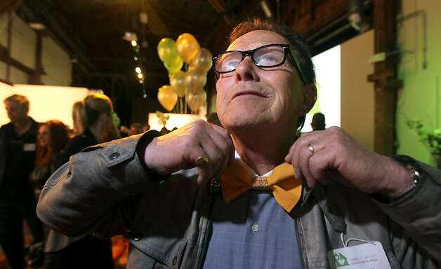 Bill Leeman models a bow tie designed by Gloria Bernard. Photo: Lance Iversen, The Chronicle