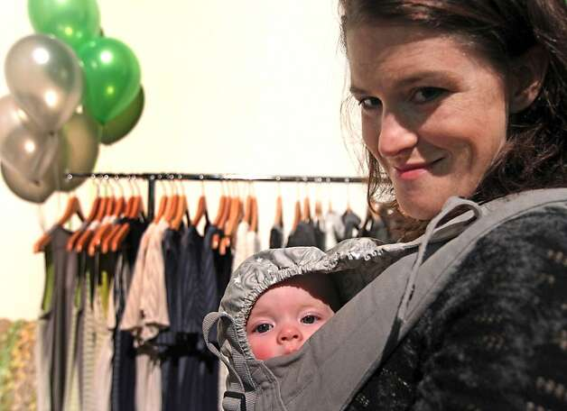 Designer Kathleen van der Spek brought 5-month-old daughter Anneke. Photo: Lance Iversen, The Chronicle