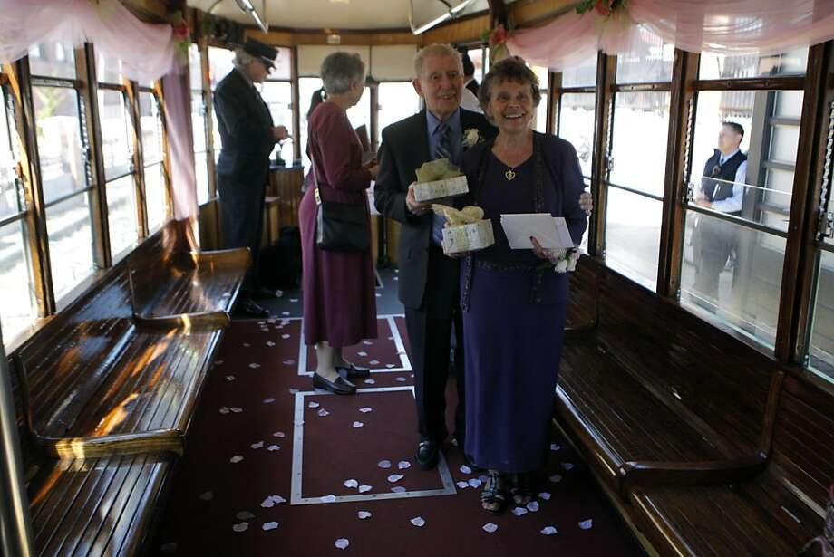 Ralph and Mary Lou Watkins renewed their vows on Valentine's Day on a vintage trolley in San Jose. They started dating in high school in the late 1940s. Photo: Jessica Olthof, The Chronicle