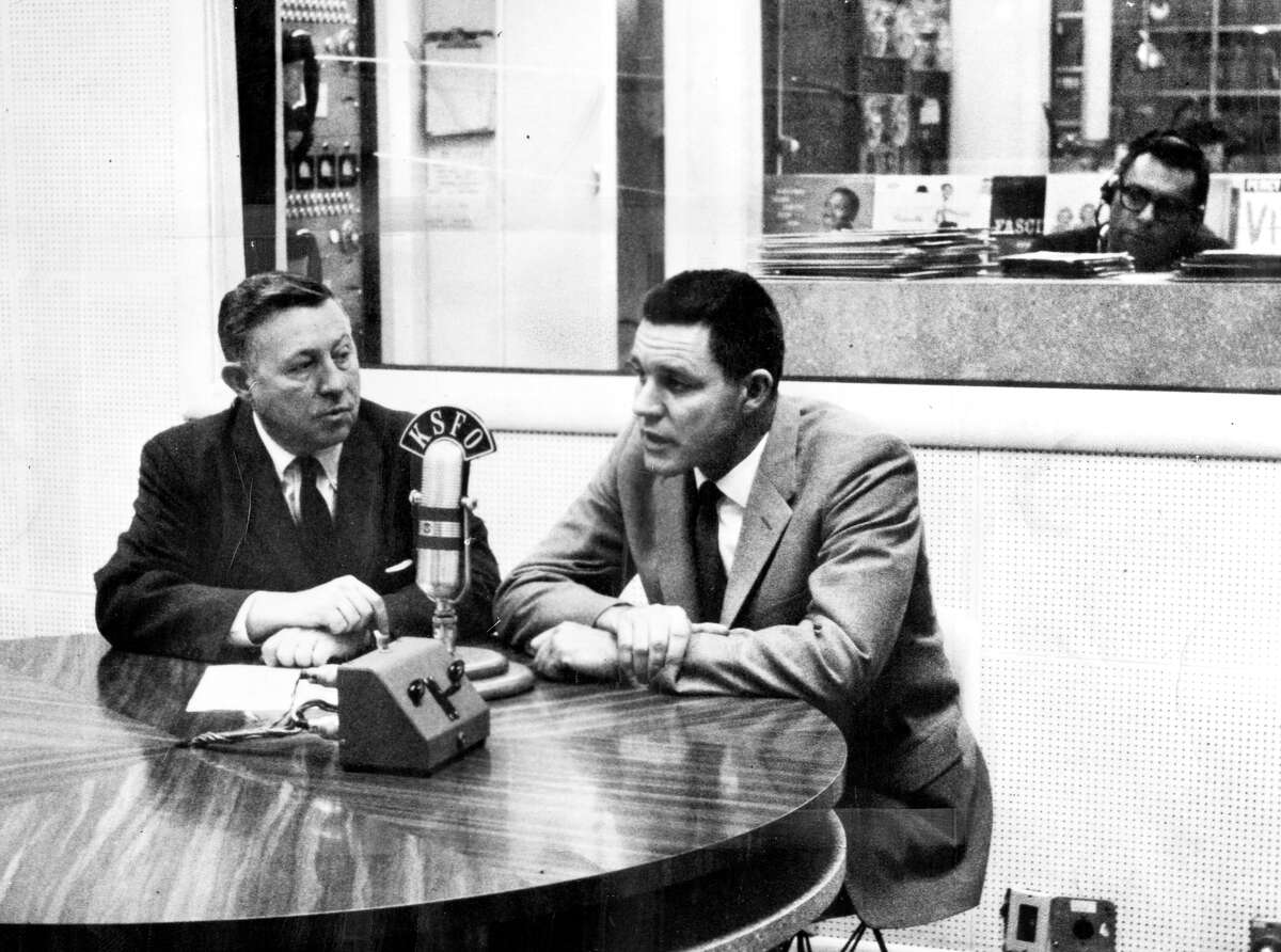 Lon Simmons (right) was first paired with fellow Hall of Fame broadcaster Russ Hodges in 1958, the Giants' first year in S.F.