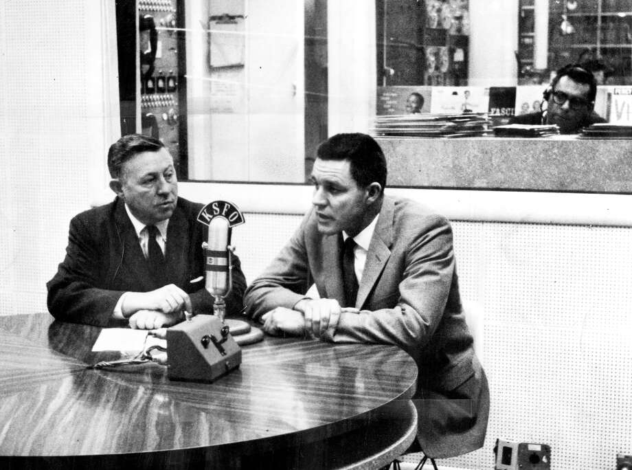 Lon Simmons (right) was first paired with fellow Hall of Fame broadcaster Russ Hodges in 1958, the Giants' first year in S.F. Photo: Chronicle File / ONLINE_YES