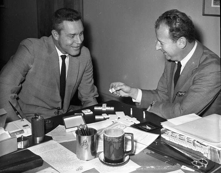 Two renowned Bay Area media figures, Lon Simmons (left) and The Chronicle's Herb Caen, were playing