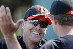Former Giant Jeff Kent had a nice reunion with Matt Cain. The San Francisco Giants held a workout at their Scottsdale Stadium facility Wednesday February 23, 2011.