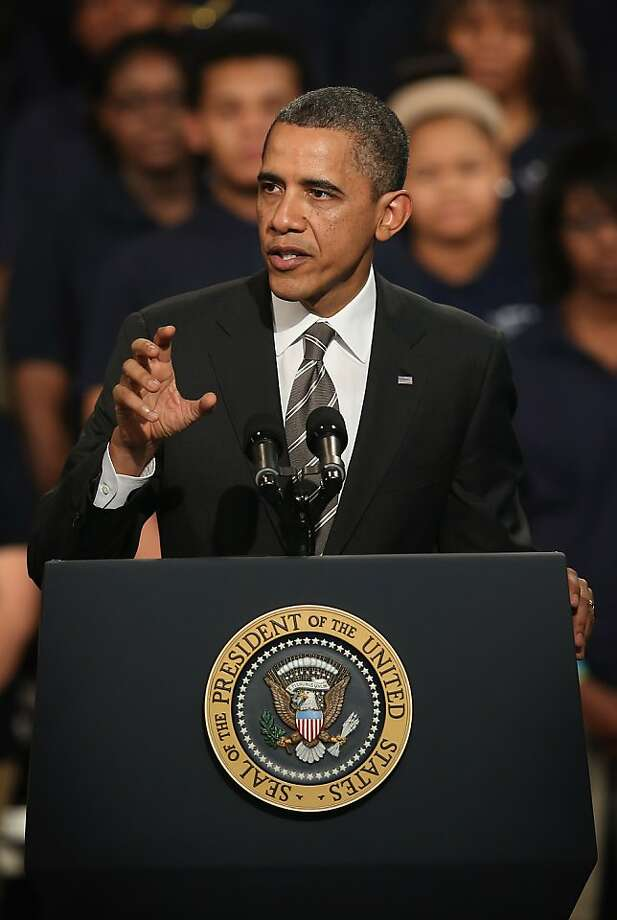 CHICAGO, IL - FEBRUARY 15:  President Barack Obama speaks to students and guests during a visit to Hyde Park Academy High School on February 15, 2013 in Chicago, Illinois. This would be the final stop of a three-state tour to promote the agenda from his State of the Union Address.  (Photo by Scott Olson/Getty Images) Photo: Scott Olson, Getty Images
