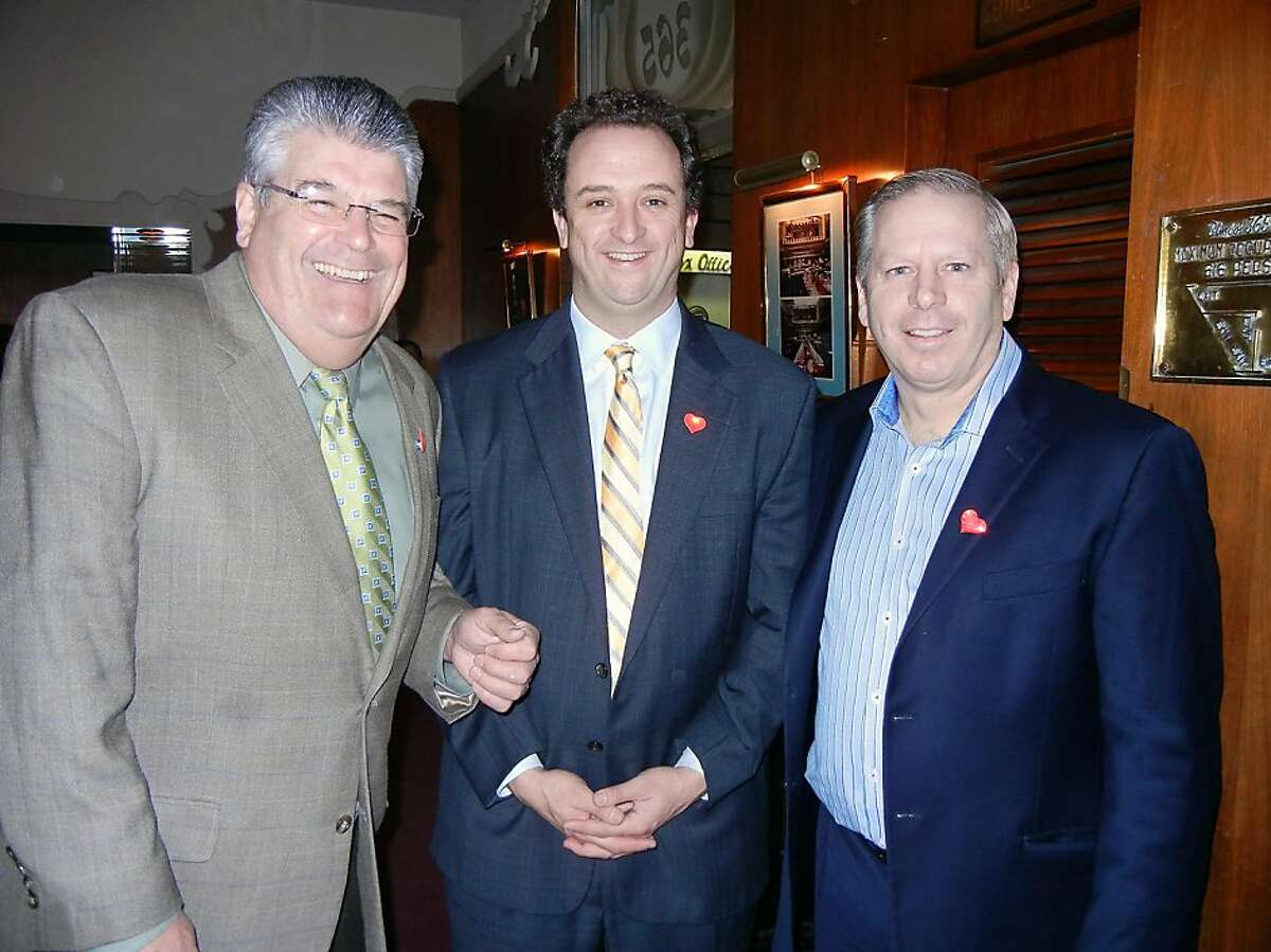 St. Ignatius alum (from left) comedian Bob Sarlatte, Sean Elsbernd and John Ring at the Pomeroy Center's That's Amore fundraiser. Feb. 2013. By Catherine Bigelow.