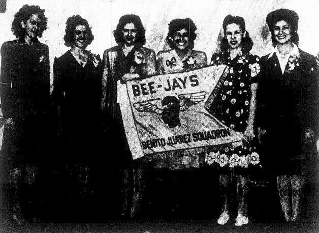 "Benito Juárez Squadron women described as ""pretty San Antonians"" and ""proverbial bees as they work for victory"": Doris V. Gillis, (from left) Manuela Martinez, Lenore Martinez, Mercedes Ledesma, Minnie Villarreal and Faustina Hernandez. Photo: San Antonio Express File Photo"