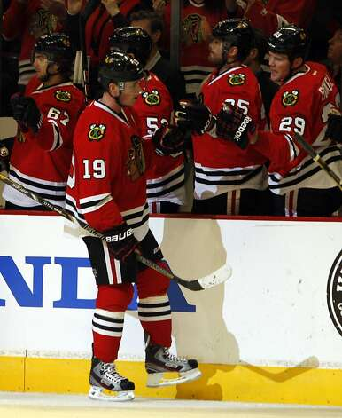 Jonathan Toews (19) had a goal and an assist. Photo: John Smierciak, Associated Press