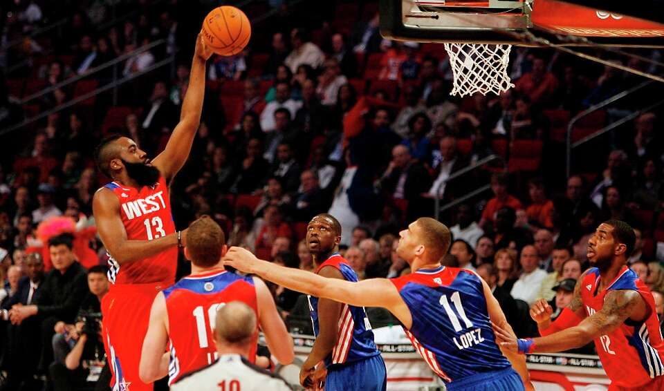 James Harden of the Houston Rockets puts up a shot during the first half.