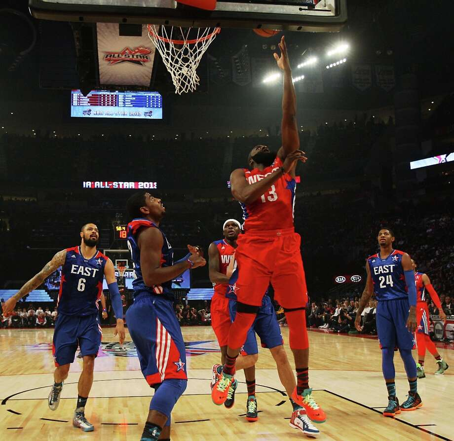 James Harden of the Houston Rockets (13) goes for a layup during the first half. Photo: James Nielsen / © 2013  Houston Chronicle