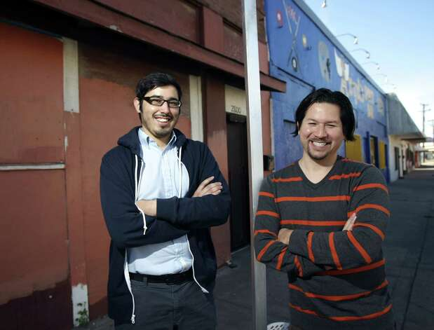 Gilbert Morales (left) and Andy Castillo founded the South San Main Street Project, which is an effort to create a safe, walkable corridor along West Southcross Boulevard in the Quintana neighborhood. Photo: Photos By Helen L. Montoya / San Antonio Express-News