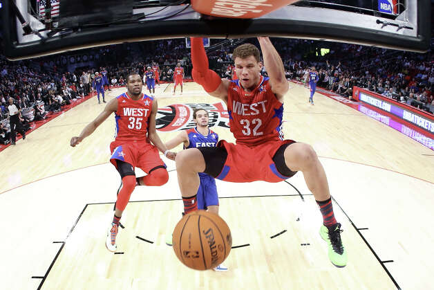 Blake Griffin #32 of the Los Angeles Clippers and the Western Conference dunks the ball during the 2013 NBA All-Star game at the Toyota Center on February 17, 2013 in Houston. Photo: Ronald Martinez, Getty Images / 2013 Getty Images