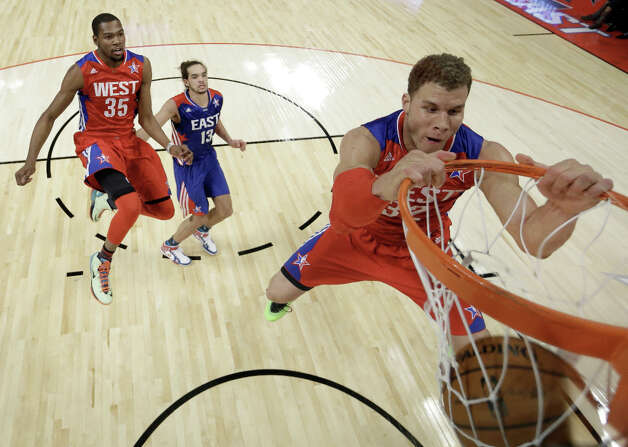 Blake Griffin #32 of the Los Angeles Clippers and the Western Conference dunks the ball during the 2013 NBA All-Star game at the Toyota Center on February 17, 2013 in Houston. Photo: Pool, Getty Images / 2013 Getty Images