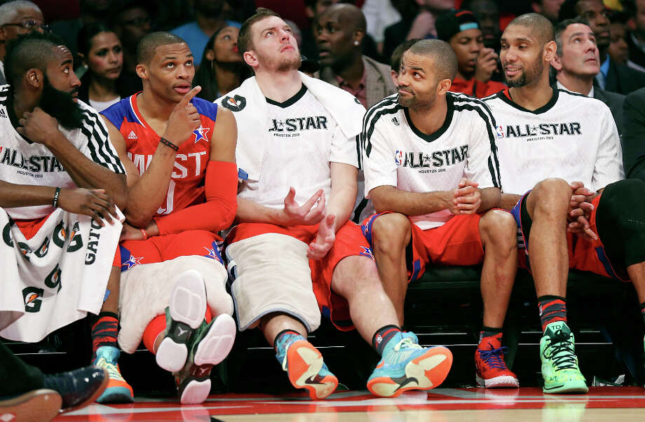 West's James Harden (from left), Russell Westbrook, David Lee, Tony Parker, and Tim Duncan sit on the bench during first half action of the 62nd All-Star game against the East at the Toyota Center Sunday Feb. 17, 2013 in Houston. Photo: Edward A. Ornelas, San Antonio Express-News / © 2013 San Antonio Express-News