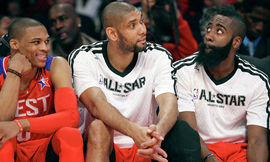 West's Russell Westbrook (from left), Tim Duncan, and James Harden sit on the bench during first half action of the 62nd All-Star game against the East at the Toyota Center Sunday Feb. 17, 2013 in Houston. Photo: Edward A. Ornelas, San Antonio Express-News / © 2013 San Antonio Express-News