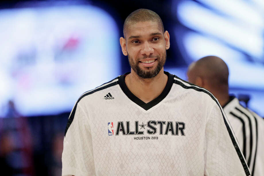 West Team's Tim Duncan of the San Antonio Spurs, warms up before the NBA All-Star basketball game Sunday, Feb. 17, 2013, in Houston. Photo: Eric Gay, Associated Press / AP