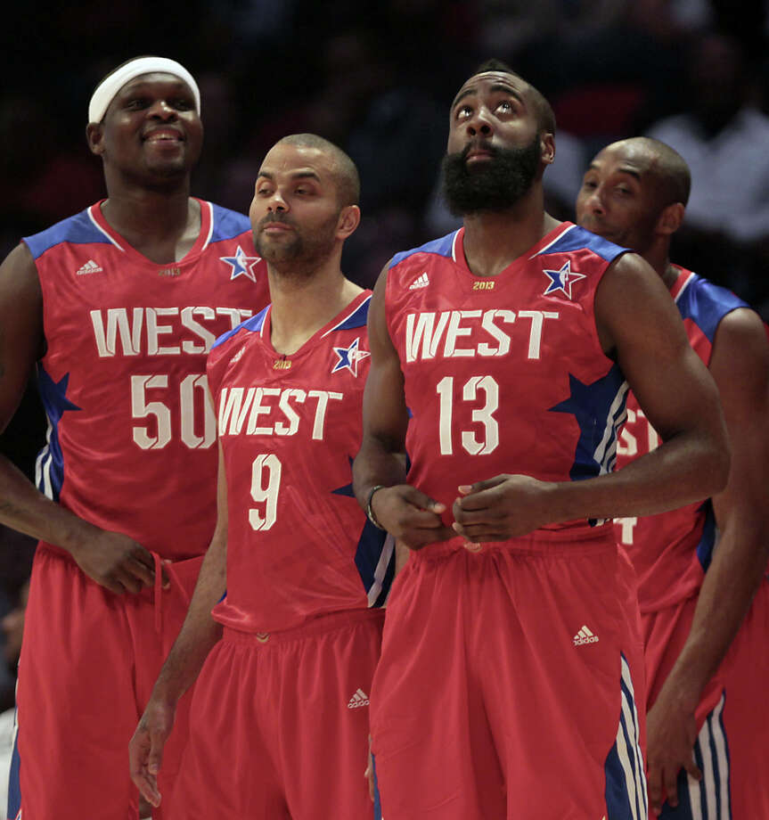 Zach Randolph of the Memphis Grizzlies (50), Tony Parker of the San Antonio Spurs (9), James Harden of the Houston Rockets (13) and Kobe Bryant of the Los Angeles Lakers (24) wait during a timeout during the first half of the NBA All-Star Game at the Toyota Center on Sunday, Feb. 17, 2013, in Houston. Photo: James Nielsen, Houston Chronicle / © 2013  Houston Chronicle