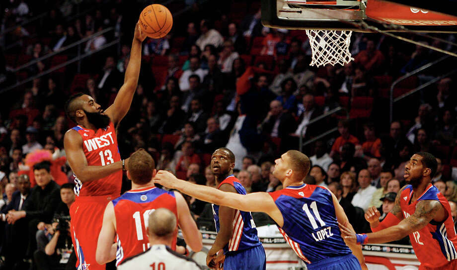 James Harden of the Houston Rockets (13) puts up a shot during the first half of the NBA All-Star Game at the Toyota Center on Sunday, Feb. 17, 2013, in Houston. Photo: James Nielsen, Houston Chronicle / © 2013  Houston Chronicle