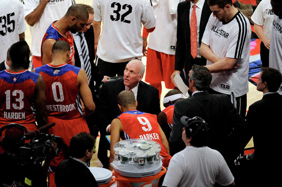 West coach Gregg Popovich of the San Antonio Spurs talks to his team during the first half of the NBA All-Star basketball game Sunday, Feb. 17, 2013, in Houston. Photo: Pat Sullivan, Associated Press / AP
