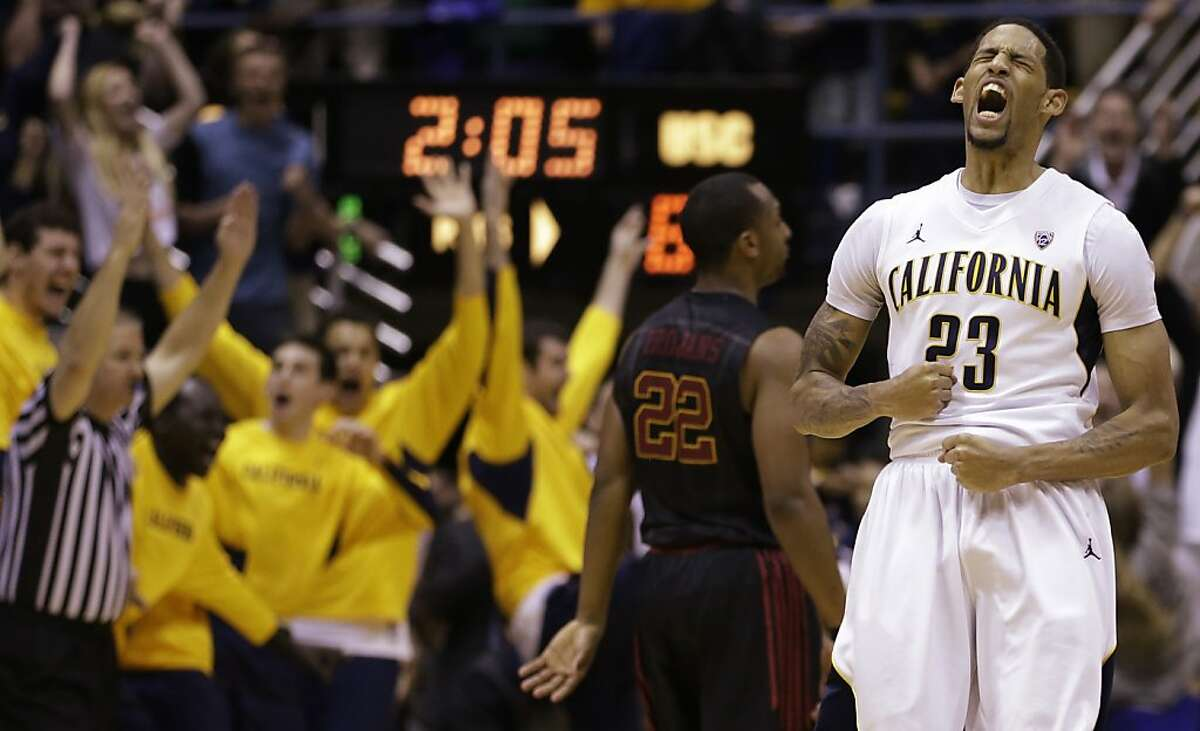 California's Allen Crabbe (23) celebrates a score against Southern California during the second half of an NCAA college basketball game, Sunday, Feb. 17, 2013, in Berkeley, Calif. (AP Photo/Ben Margot)