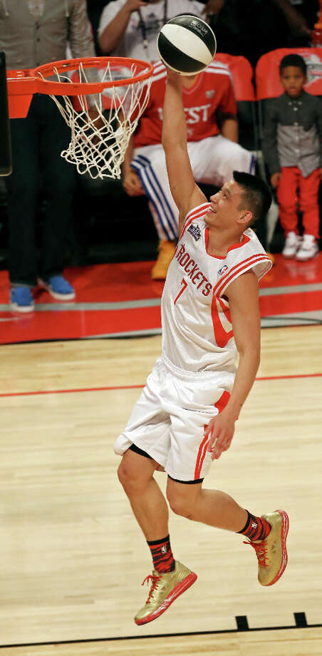 Houston Rockets' Jeremy Lin shoots during the Taco Bell Skills Challenge at the Toyota Center Saturday, Feb. 16, 2013, in Houston. Photo: Edward A. Ornelas, San Antonio Express-News / © 2013 San Antonio Express-News