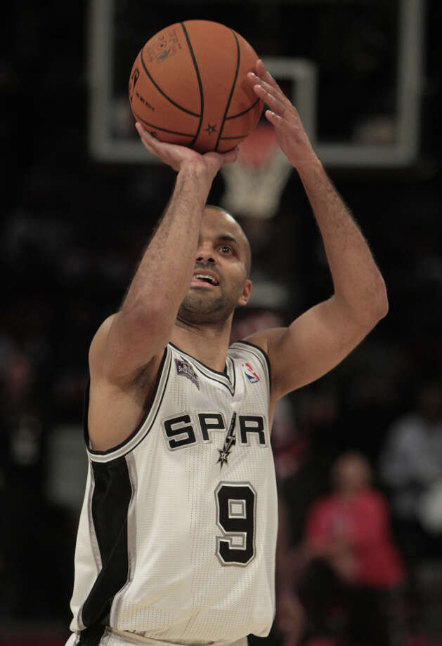 Tony Parker of the San Antonio Spurs competes in the NBA All-Star Skills Challenge at the Toyota Center on All-Star Saturday Night, Saturday, Feb. 16, 2013, in Houston. Photo: James Nielsen, Houston Chronicle / © 2013  Houston Chronicle