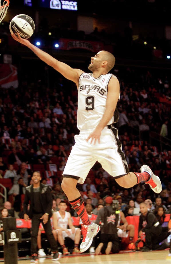 Tony Parker of the San Antonio Spurs competes in the NBA All-Star Skills Challenge at the Toyota Center on All-Star Saturday Night, Saturday, Feb. 16, 2013, in Houston. Photo: Melissa Phillip, Houston Chronicle / © 2013  Houston Chronicle