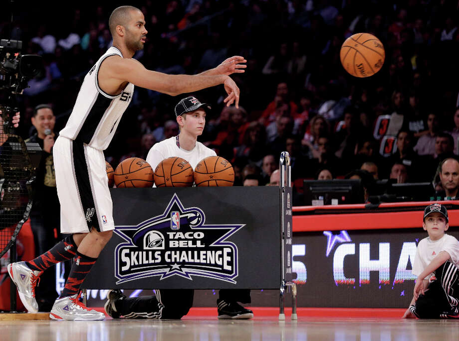 Tony Parker of the San Antonio Spurs, of France, participates in the skills challenge during NBA All-Star Saturday Night basketball Saturday, Feb. 16, 2013, in Houston. Photo: Eric Gay, Associated Press / AP