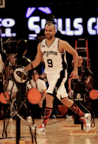 Tony Parker of the San Antonio Spurs competes in the skills challenge during NBA All-Star Saturday Night basketball Saturday, Feb. 16, 2013, in Houston. Photo: Pat Sullivan, Associated Press / AP