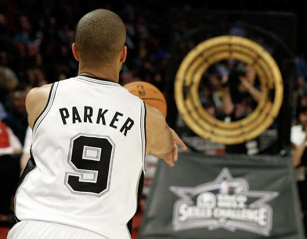 Tony Parker of the San Antonio Spurs competes during the Taco Bell Skills Challenge part of 2013 NBA All-Star Weekend at the Toyota Center on February 16, 2013 in Houston. Photo: Scott Halleran, Getty Images / 2013 Getty Images