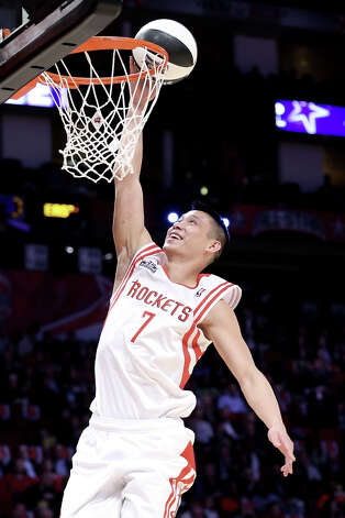 Jeremy Lin of the Houston Rockets competes during the Taco Bell Skills Challenge part of 2013 NBA All-Star Weekend at the Toyota Center on February 16, 2013 in Houston. Photo: Ronald Martinez, Getty Images / 2013 Getty Images