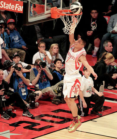 Jeremy Lin of the Houston Rockets competes in the NBA All-Star Skills Challenge at the Toyota Center on Saturday, Feb. 16, 2013, in Houston. Photo: Billy Smith II, Houston Chronicle / © 2013 Houston Chronicle