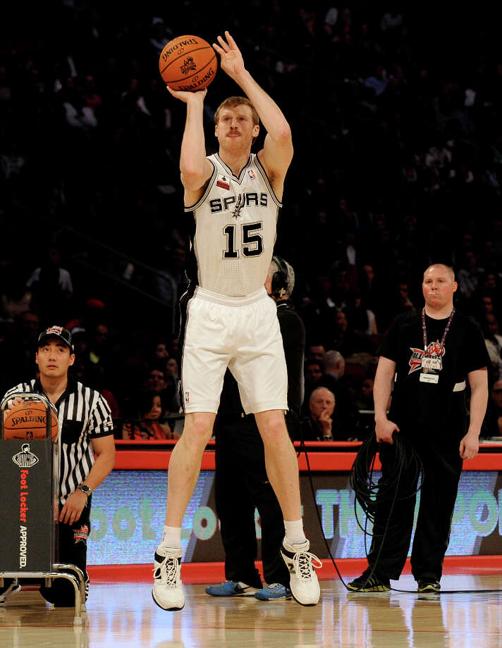 Matt Bonner of the San Antonio Spurs shoots during the three point shootout during NBA All-Star Saturday Night basketball Saturday, Feb. 16, 2013, in Houston. Photo: Pat Sullivan, Associated Press / AP