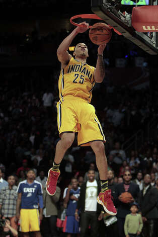 Gerald Green of the Indiana Pacers  competes in the NBA All-Star Slam Dunk Contest at the Toyota Center on All-Star Saturday Night, Saturday, Feb. 16, 2013, in Houston. Photo: James Nielsen, Houston Chronicle / © 2013  Houston Chronicle