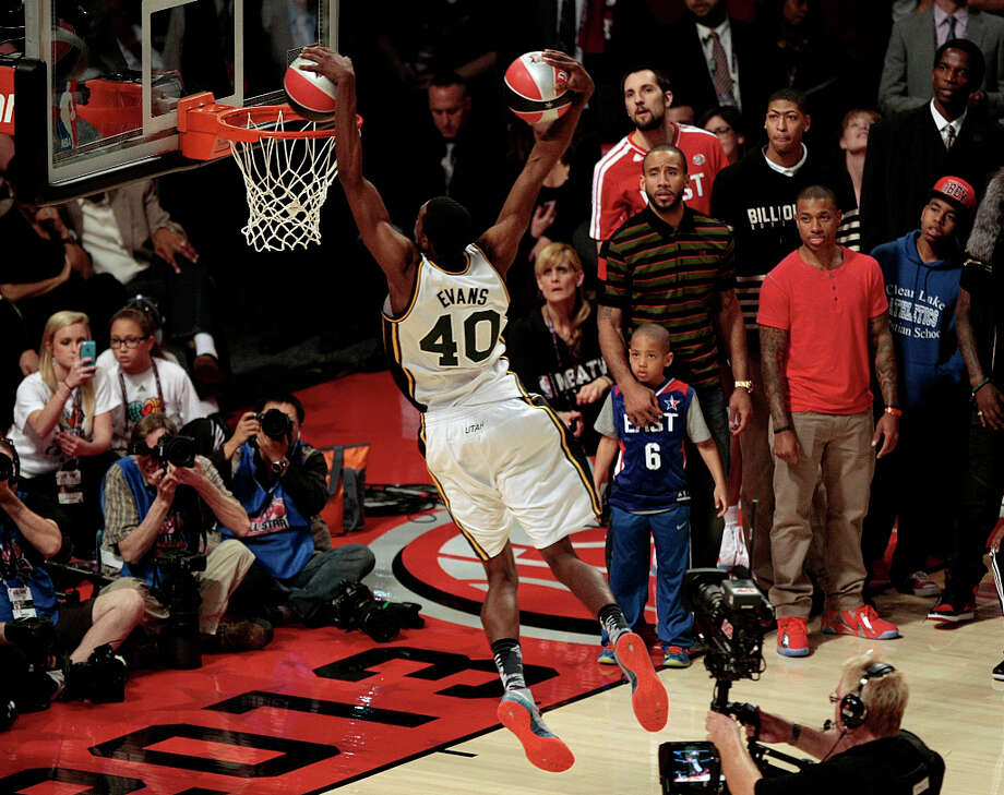 Jeremy Evans of the Utah Jazz  competes in the NBA All-Star Slam Dunk Contest at the Toyota Center on Saturday, Feb. 16, 2013, in Houston. Photo: Billy Smith II, Houston Chronicle / © 2013 Houston Chronicle