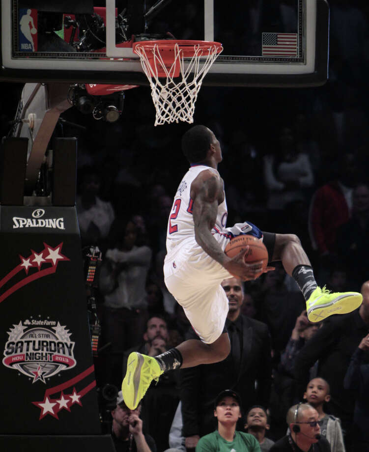 Eric Bledsoe of the Los Angeles Clippers  competes in the NBA All-Star Slam Dunk Contest at the Toyota Center on All-Star Saturday Night, Saturday, Feb. 16, 2013, in Houston. Photo: James Nielsen, Houston Chronicle / © 2013  Houston Chronicle
