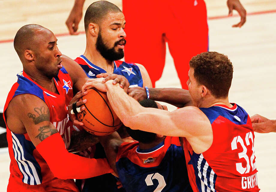 Kobe Bryant of the Los Angeles Lakers (24), Tyson Chandler of the New York Knicks (6), Kyrie Irving of the Cleveland Cavaliers (2) and Blake Griffin of the Los Angeles Clippers (32). Photo: Cody Duty, Houston Chronicle / © 2013  Houston Chronicle